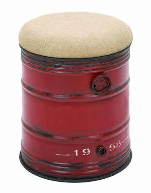 Industrial Style Steel And Fabric Stool In Unique Oil Drum Shape Brand Woodland