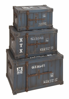 Industrial Wood Trunk Set - Blue Color Trunks - Set of 3 Brand Woodland