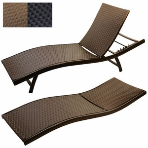 Infinita Wicker Weave Sun Lounger in MOCHA, Set of 2 by Infinita