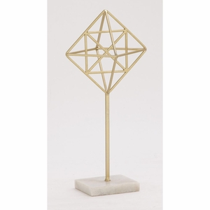 Innovative Metal Marble Gold Sculpture - 65566 by Benzara