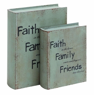 Inspirational Faith And Family Book Box Set In Antique Wood Brand Woodland