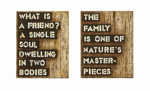 Inspirational Friends And Family Wall Decor In Antique Wood  by Benzara