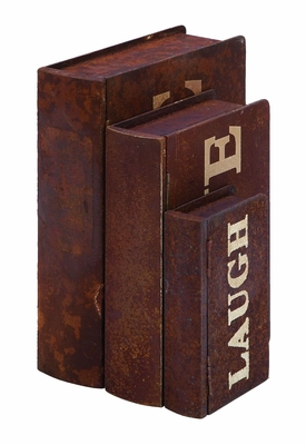 Inspirational Live Laugh Love Book Box Set In Aged Wood Brand Woodland