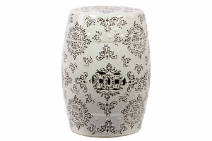 Interesting Ceramic Garden Stool White And Brown