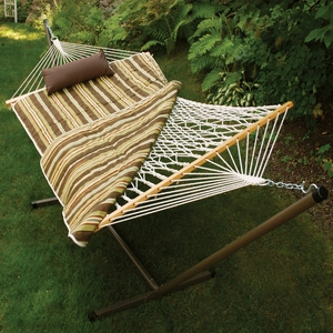 Interesting Cotton Rope Hammock, Stand, Pad and Pillow Combination by Alogma