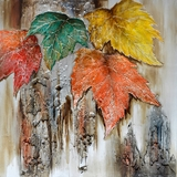 Interestingly Painted Autumn Leaves Serene Painting by Yosemite Home Decor