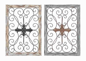 Intricate Designed Wood Metal Wall Panel with Articulate Design Set -2 Brand Woodland