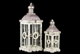 Intricate Lamp Post Design Wooden Lantern Set of Two in Antique White Finish