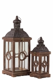 Intricate Lamp Post Design Wooden Lantern Set of Two in Rustic Antique Finish
