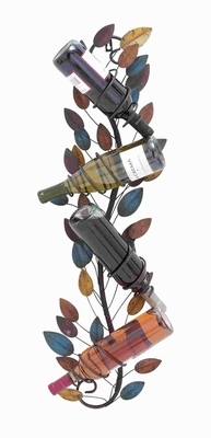 Intricate & Suave Metal Wall Wine Holder with Sturdy Construction Brand Woodland