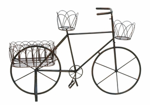 Intricately Carved Metal Planter Bike with Aesthetic Appeal Brand Woodland