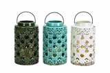 Intricately Designed Ceramic Lantern 3 Assorted by Woodland Import