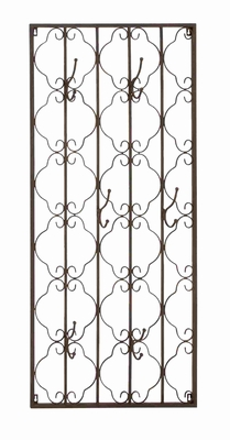 Intricately Designed Metal Wall Panel with Hooks Brand Benzara