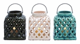 Intricately Designed Smart Styled Ceramic Lantern 3 Assorted by Woodland Import