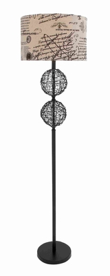"""Iron and Rattan Combination 64"""" Floor Lamp with Fabulous Shaped Brand Woodland"""
