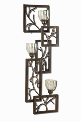 Iron Branches Wall Sconce With Green Luster Glass Candle Cups Brand Uttermost