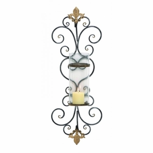 Iron Candle Holder with Curvaceous Design in Black/Gold Brand Woodland