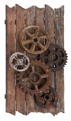 Iron Gear Decor - Industrial Gear Work Wall Decor Brand Woodland