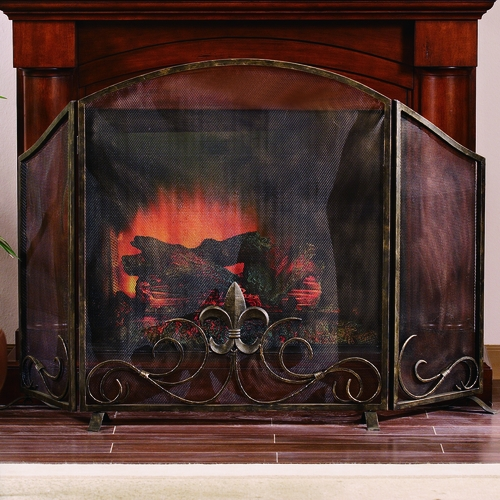 SPI HOME 31735 Iron Mesh Fireplace Screen With Fleur De