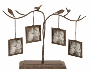 Iron Photo Tree Frame - 4 Frame Decor With Tranquil Birds Brand Woodland