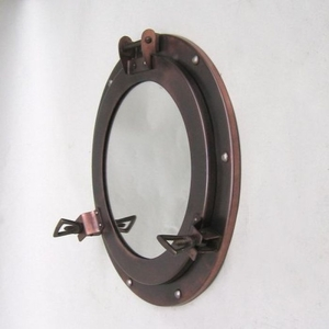 Iron Porthole Mirror Wall Decor with Antique Finish by IOTC