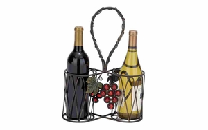 Iron Wine Basket - Picnic 2-Bottle Wine Basket With Harvest Decoration Brand Woodland