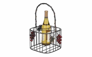 Iron Wine Basket - Picnic 4-Bottle Wine Basket With Harvest Decoration Brand Woodland