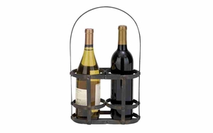 Iron Wine Basket - Picnic Wine Basket With Iron Rod Handle Brand Woodland