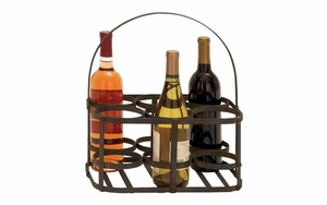 Iron Wine Holder - Picnic 6-bottle Wine Holder With Iron Rod Handle Brand Woodland