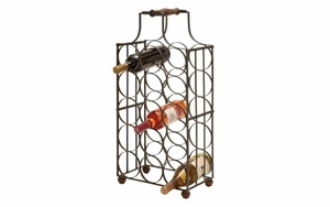 Iron Wine Holder - Table Top 15-Bottle Wine Holder With Handle Brand Woodland