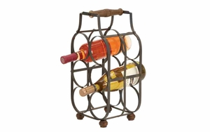 Iron Wine Holder - Table Top 6-Bottle Wine Holder With Handle Brand Woodland