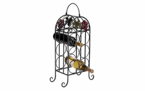 Iron Wine Holder - Table Top 6-Bottle Wine Holder With Harvest Decoration Brand Woodland