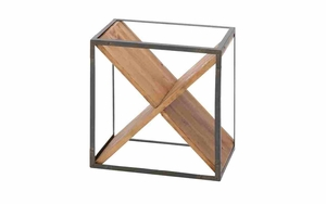 Iron Wine Rack - Simplistic Wine Rack With Cross Support Planks Brand Woodland