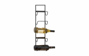 Iron Wine Rack - Wall Mount Wine Rack With Simple Ironwork - 63329 by Benzara