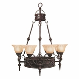 Isabella Collection Attractive 11 Light Chandelier with shade in Earthen Bronze by Yosemite Home Decor