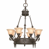 Isabella Collection Attractive 8 Lights Chandelier with shade in Earthen Bronze by Yosemite Home Decor