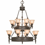 Isabella Collection Classy 16 Light Chandelier with shade in Earthen Bronze by Yosemite Home Decor