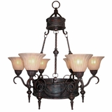Isabella Collection Stylized 6 Light Chandelier with shade in Earthen Bronze by Yosemite Home Decor