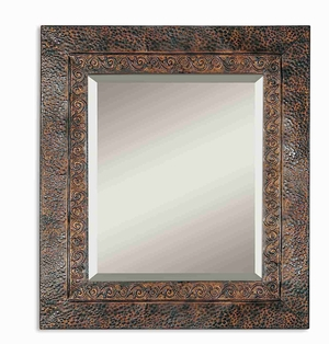 Jackson Wall Mirror with Fleur-de-Lis And Brown Black Undertones Brand Uttermost