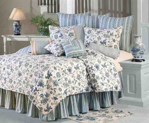 Jacobean Blue  Cotton Quilt Luxury Os King  Bedding Ensembles Brand C&F