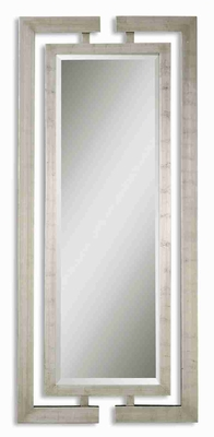 Jamal Wall Mirror with Dual Wooden Scratched Silver Frame Brand Uttermost