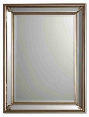 Jansen Silver Wall Mirror with Beveled Mirror Paneled Edges Brand Uttermost