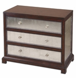 Jayne Mirrored Accent Chest With Mirrored Drawers and Panels Brand Uttermost
