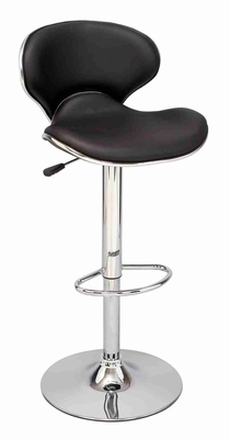 Jazz Bar Stool Black and Chrome with Gas Lift, Full Swivel and Back rest Brand Woodland