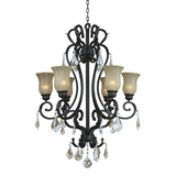 Jessica Collection Adorably styled 6 Light Chandelier with Hade in Sierra Slate by Yosemite Home Decor