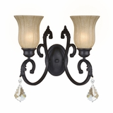 Jessica Collection Dazzling 2 Lights Wall sconce in Brown by Yosemite Home Decor