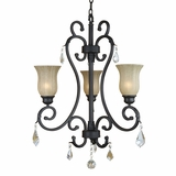 Jessica Collection Enticingly Styled 3 Light Chandelier with Hadein Sierra Slate by Yosemite Home Decor