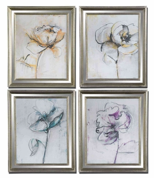 Jesters Wall Decor with Floral Design - Set of 4 Brand Uttermost