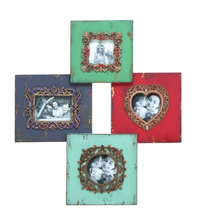 Jewel Encrusted Photo Frame In Beautiful Aged Wood Brand Woodland