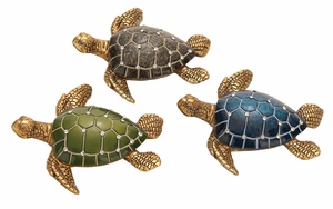 Jeweled Turtle Decor - Polystone Cast Sea Turtle - Set of 3 Brand Woodland